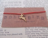 DollyBird Wish red Cotton Friendship bracelet with bambi deer charm