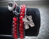 Nebraska Huskers Wrap Bracelet with charm