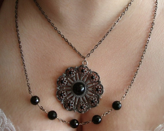 Black Gothic Metal Pendant Chain Multiple Strand Necklace