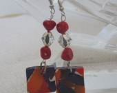 Polymer clay Square drop earrings with red coral beads and clear glass beads