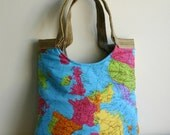 The whole world in your hand map tote bag With burlap