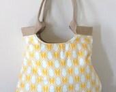 Yellow/Burlap Tangerine fabric weekender tote bag Spring fashion