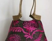 Pink tapestry hobo bag