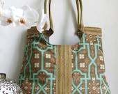 Jute and barnwood fabric tote bag