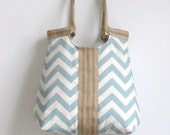 Shoulder Bag / Handbag / Purse Blue chevron carry all hobo bag with burlap