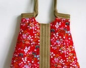 Red butterfly & jute tote bag