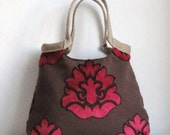 Brown pink weekender tapestry Boho chic hobo bag with burlap SPRING FASHION