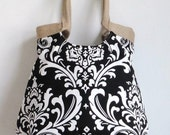 Purse / Handbag / Diaperbag / Shoulder Bag black white Damask carryall handbag with burlap