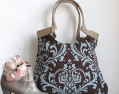 Brown blue damask tote bag with burlap