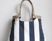 Navy blue striped weekender hobo bag with burlap SPRING FASHION