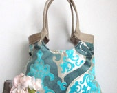 Turquoise blue damask tote bag with burlap Spring fashion
