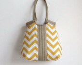 Yellow chevron hobo bag with burlap