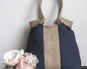 Navy Blue Polka dots French Tres chic  hobo bag with dots