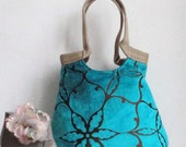 Shoulder Bag Handbag PurseTurquoise large tapestry carry all hobo bag with burlap