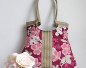 Floral tote bag in berry with jute SUMMER FASHION with jute