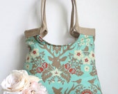 Deer tote bag in celadon with Jute