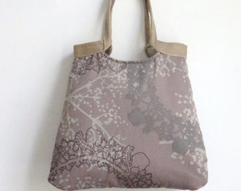Taupe  carry on tote bag with burlap /handbag / shoulderbag