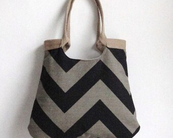 Stone Black/Denton chevron tote bag