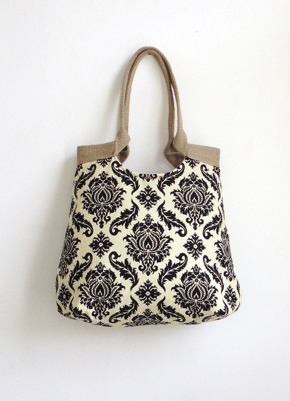 Damask black hobo bag with burlap