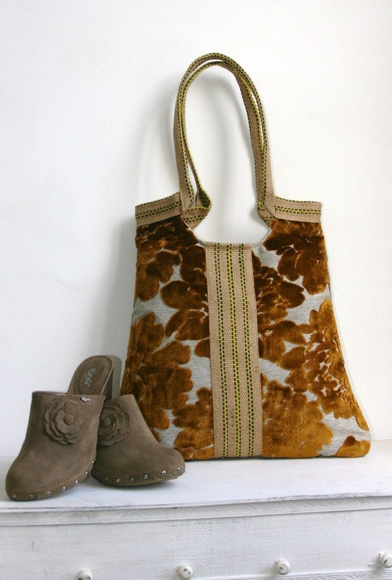 Copper-gray  tapestry tote bag 2 different sides