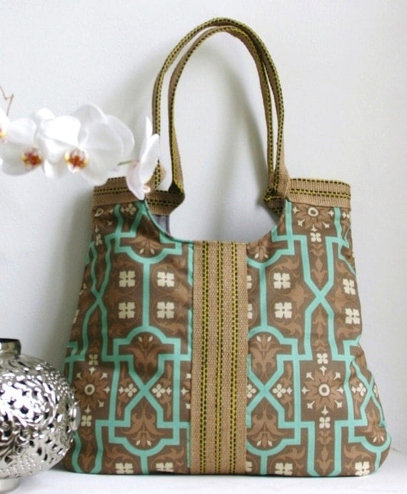 Jute and barnwood fabric tote bag