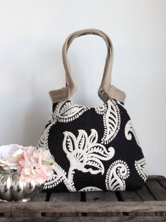 Paisley black and white tapestry hobo bag HIGH FASHION boho chic