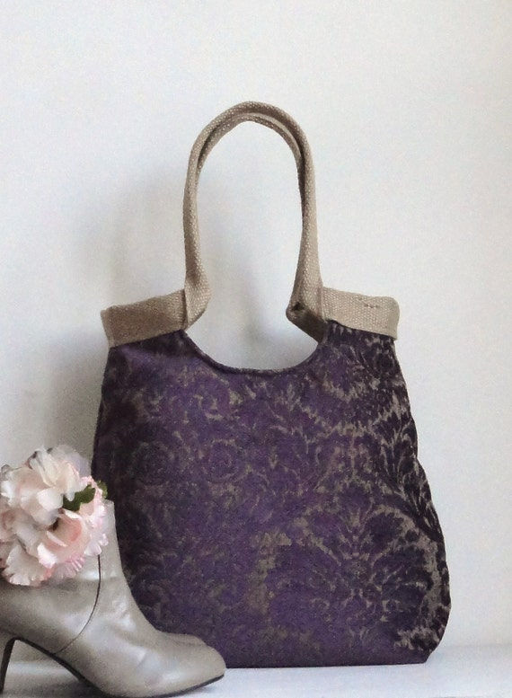 Damask purple tapestry hobo bag with burlap  carry all 2013