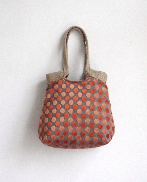 Orange dots TRES CHIC tapestry hobo bag with burlap boho 2013