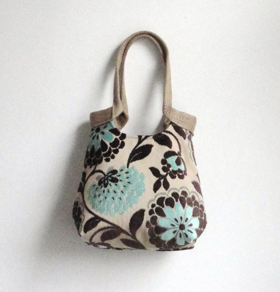 Mint and chocolate tapestry hobo bag  BOHO CHIC