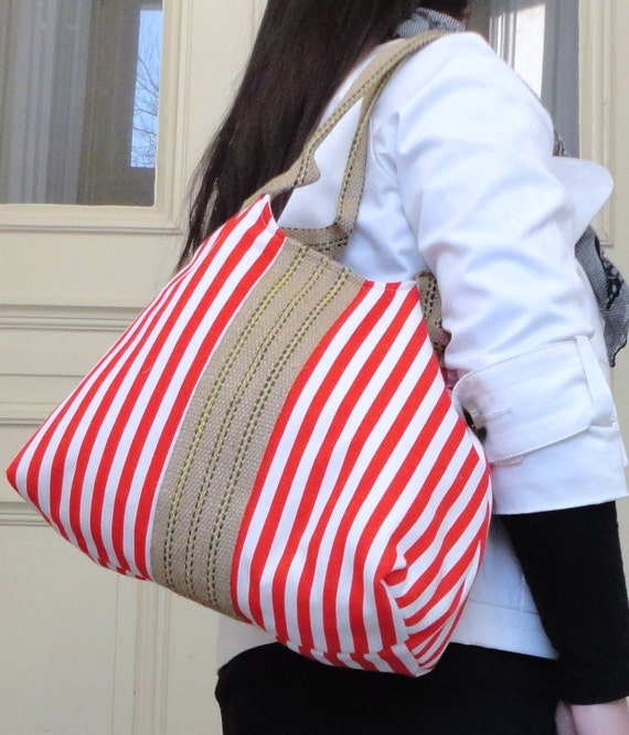 Red Sail away nautical hobo bag