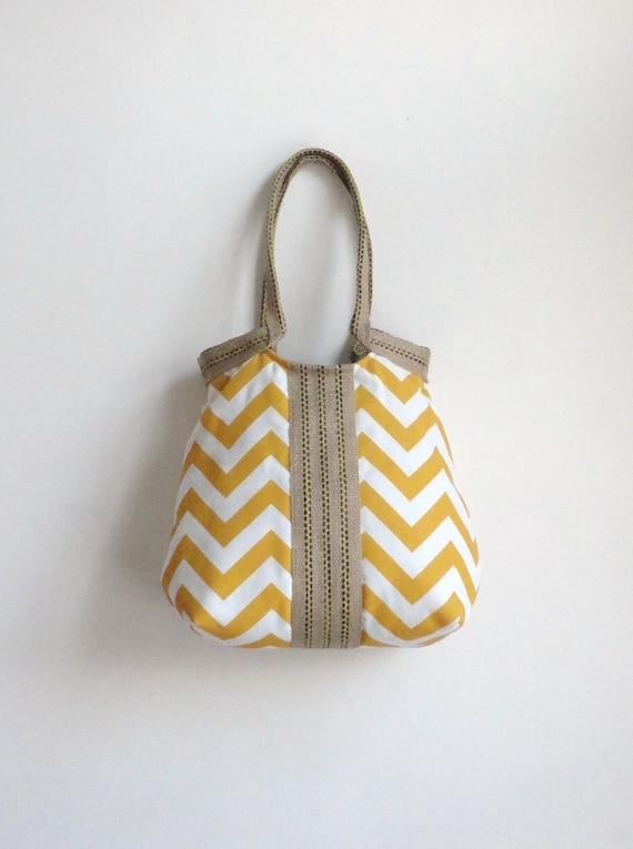 Yellow chevron hobo bag with burlap