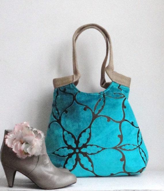 Shoulder Bag Handbag PurseTurquoise large tapestry carry all hobo bag with burlap