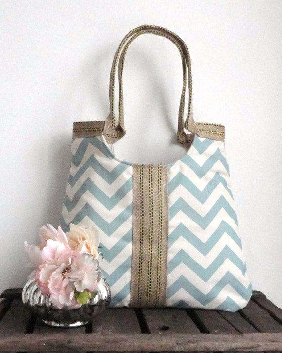 Chevron light blue & burlap  tote bag