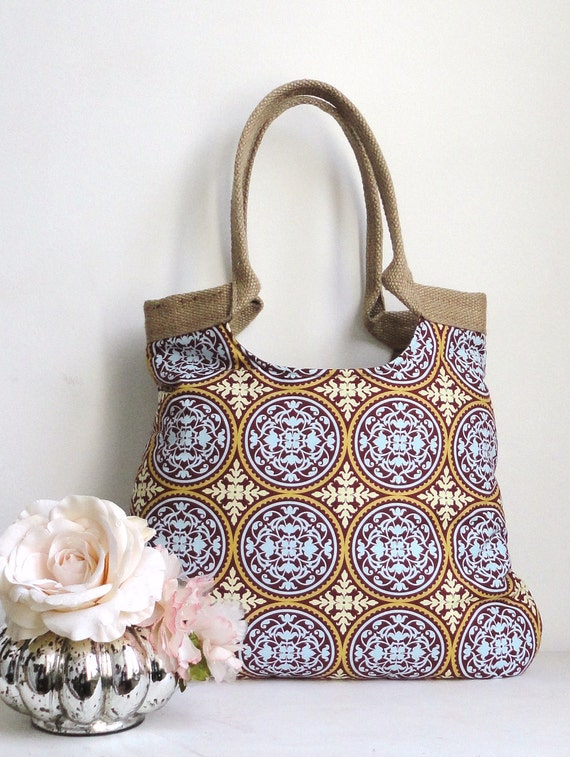 Damask Circles tote bag with Jute Summer Fashion
