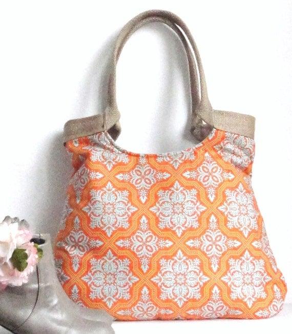 Tile Flourish in tangerine and burlap tote bag