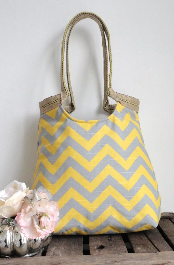 Yellow and grey chevron carry on hobo bag with burlap