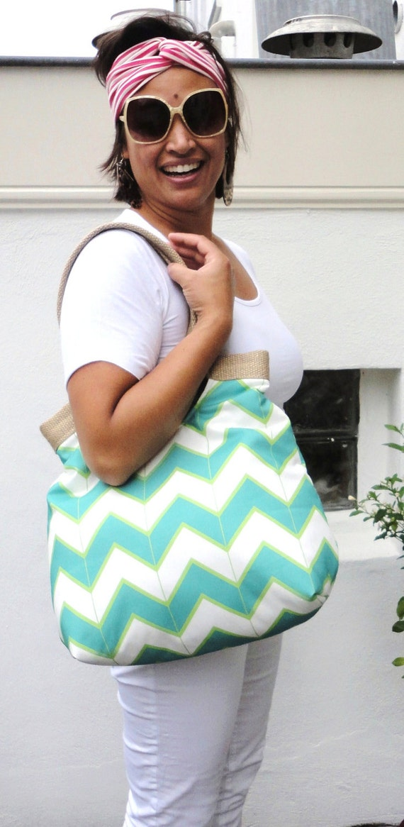 Sea foam chevron carry all hobo bag with burlap summer fashion
