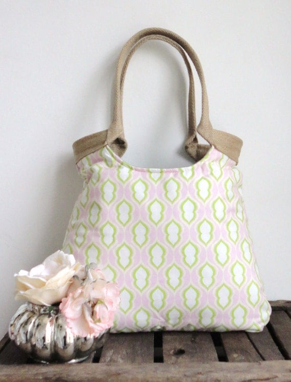 Pastel pink fabric weekender tote bag Spring fashion