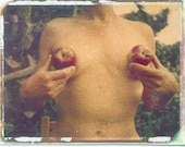 Garden of Breasts with apples/ photo postcard