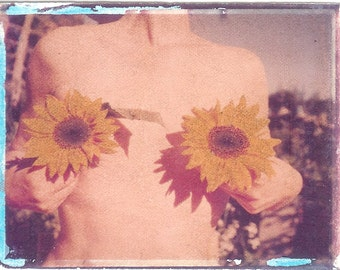 Garden of Breasts with sunflowers/ photo postcard