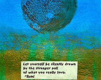 What you really love/Rumi art postcard