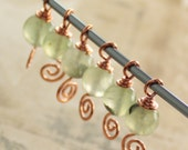 Knitting stitch markers with shawl pin - copper with green rutilated quartz