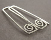 Rectangular hook sterling silver earrings with swirls - Greek style earrings - Threader earrings - Trendy earrings - ER087