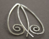 Swirly simple hook sterling silver earrings