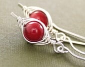 Red coral sterling silver earrings - A pea in pod - herringbone wrapped