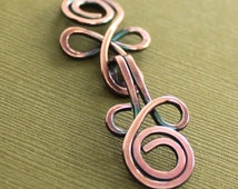 Handmade Celtic knot copper cardigan clasp or sweater clasp for knit and fabric - select other metal finish