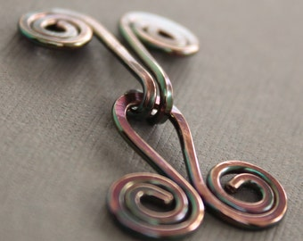 Handmade spiral copper cardigan clasp or sweater clasp for knit and fabric - Sweater clip - Metal clasp - CL005