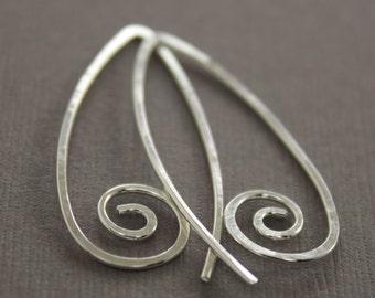Swirly simple hook sterling silver earrings