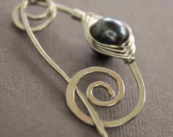 Silver shawl pin or scarf pin with black pearl herringbone wrapped and spiral closure