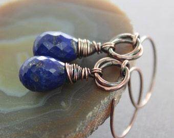 Lapis lazuli copper earrings with indigo blue teardrop stones - Drop earrings - Dangle earrings - Stone earrings - ER065